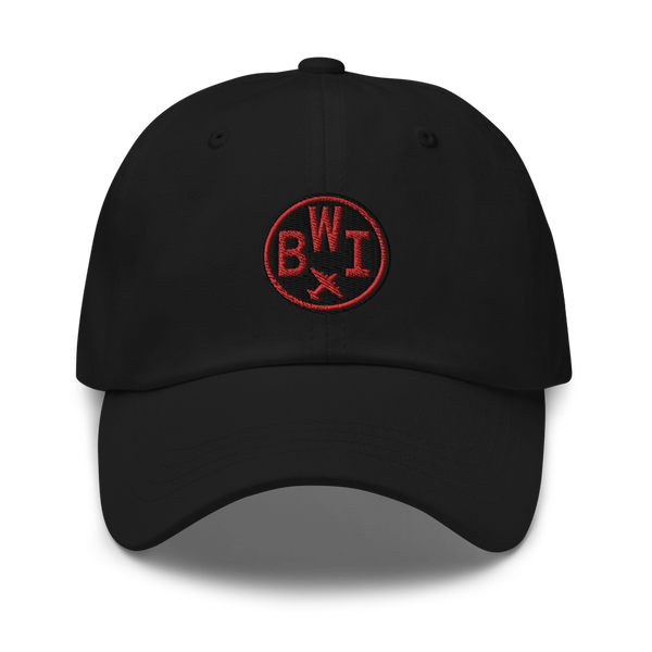 RWY23 - BWI Baltimore-Washington Airport Code Dad Hat - City-Themed Merchandise - Roundel Design with Vintage Airplane - Image 1