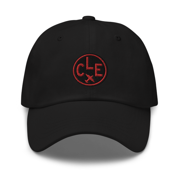 RWY23 - CLE Cleveland Airport Code Dad Hat - City-Themed Merchandise - Roundel Design with Vintage Airplane - Image 1