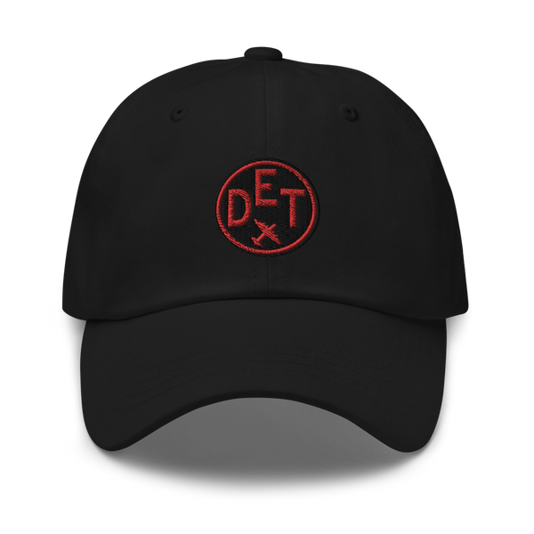 RWY23 - DET Detroit Airport Code Dad Hat - City-Themed Merchandise - Roundel Design with Vintage Airplane - Image 1