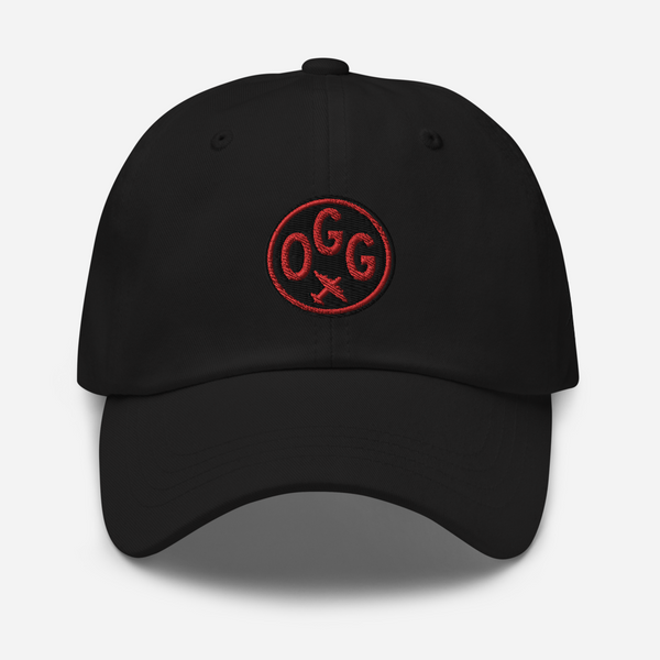 RWY23 - OGG Maui Airport Code Dad Hat - City-Themed Merchandise - Roundel Design with Vintage Airplane - Image 1
