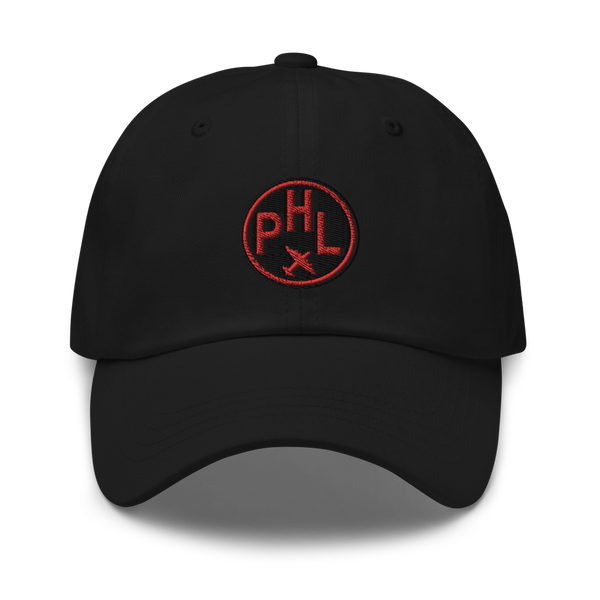 RWY23 - PHL Philadelphia Airport Code Dad Hat - City-Themed Merchandise - Roundel Design with Vintage Airplane - Image 1