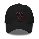 RWY23 - SFO San Francisco Airport Code Dad Hat - City-Themed Merchandise - Roundel Design with Vintage Airplane - Image 1