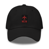 RWY23 - MEM Memphis Airport Code Dad Hat - City-Themed Merchandise - Retro Jetliner Design - Image 1