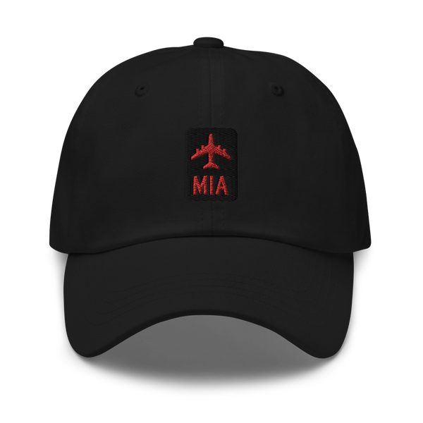 RWY23 - MIA Miami Airport Code Dad Hat - City-Themed Merchandise - Retro Jetliner Design - Image 1