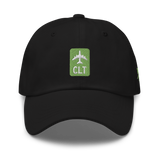 RWY23 - CLT Charlotte Airport Code Dad Hat - City-Themed Merchandise - Retro Jetliner Design - Image 6