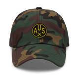 RWY23 - AUS Austin Airport Code Dad Hat - City-Themed Merchandise - Roundel Design with Vintage Airplane - Image 9