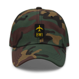 RWY23 - BWI Baltimore-Washington Airport Code Dad Hat - City-Themed Merchandise - Retro Jetliner Design - Image 1