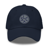 RWY23 - SLC Salt Lake City Airport Code Dad Hat - City-Themed Merchandise - Roundel Design with Vintage Airplane - Image 9