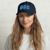 RWY23 - BOS Boston Airport Code Dad Hat - City-Themed Merchandise - Bold Collegiate Style - Image 2