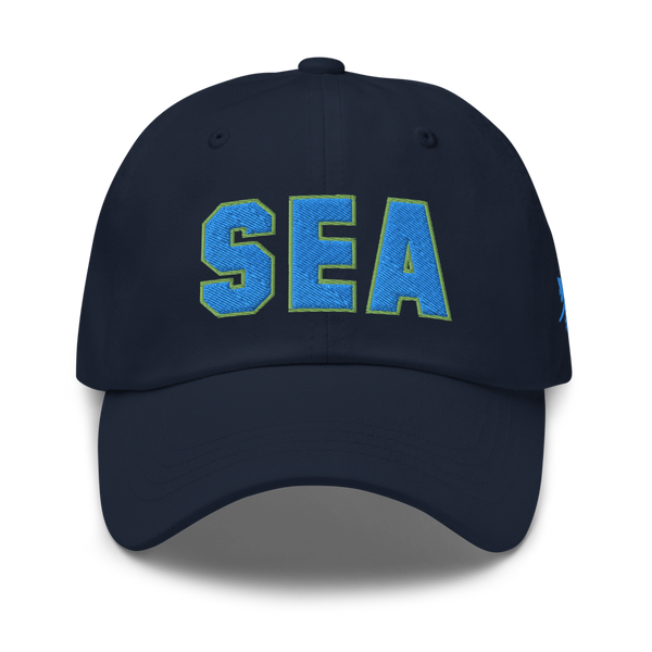 RWY23 - SEA Seattle Airport Code Dad Hat - City-Themed Merchandise - Bold Collegiate Style - Image 1