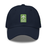 RWY23 - CLT Charlotte Airport Code Dad Hat - City-Themed Merchandise - Retro Jetliner Design - Image 1