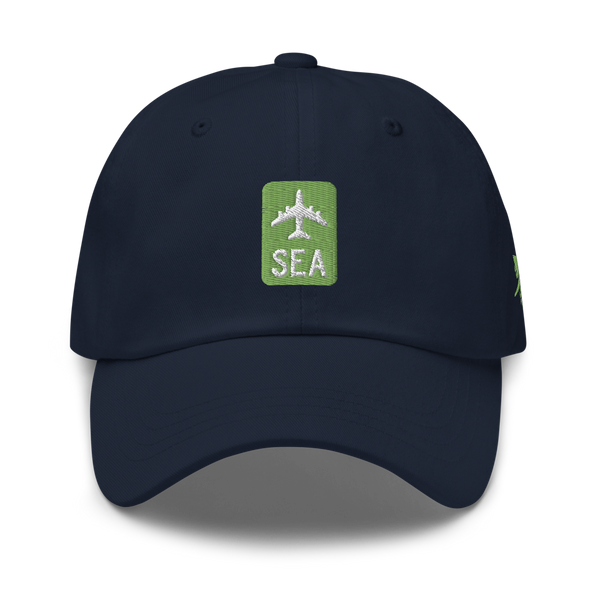 RWY23 - SEA Seattle Airport Code Dad Hat - City-Themed Merchandise - Retro Jetliner Design - Image 1