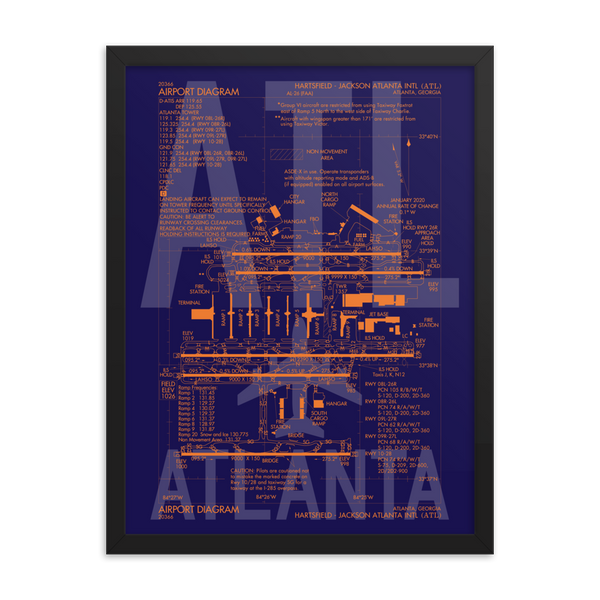 "RWY23 - ATL Atlanta Framed Print - FAA Airport Diagram - 18""x24"""