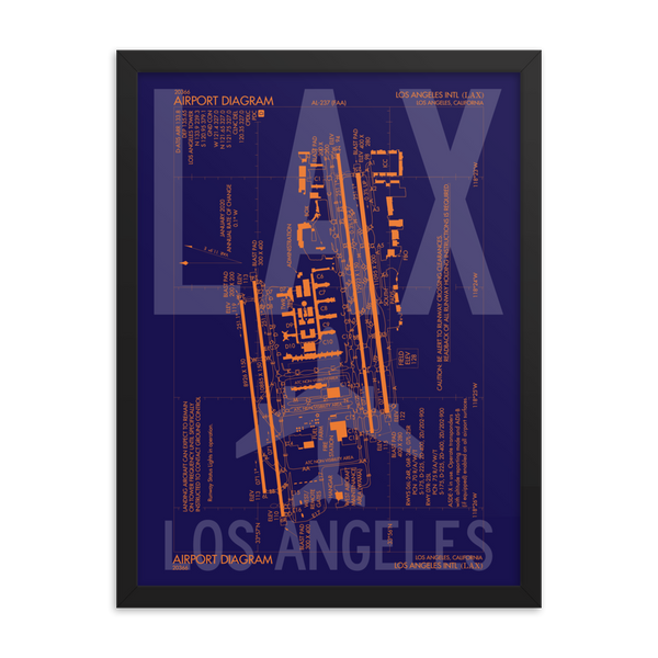 "RWY23 - LAX Los Angeles Framed Print - FAA Airport Diagram - 18""x24"""