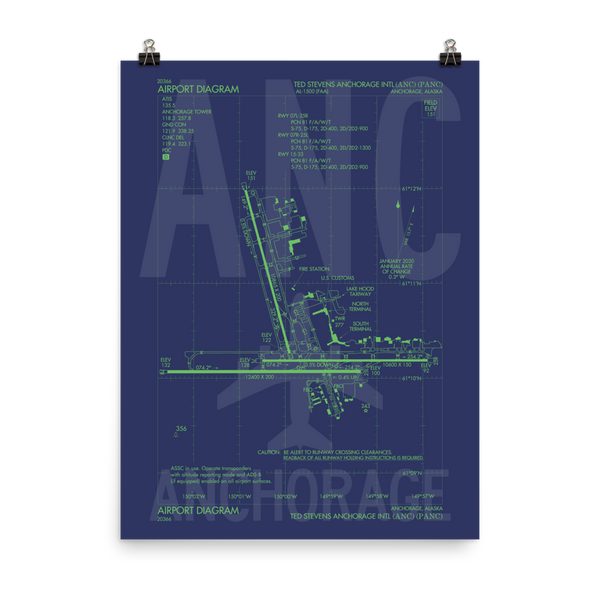 "RWY23 - ANC Anchorage Poster Print - FAA Airport Diagram - 18""x24"""
