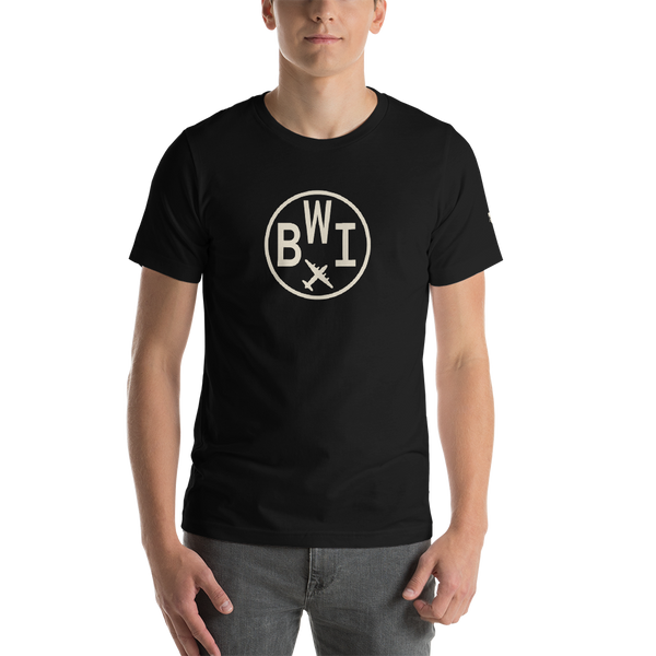 RWY23 - BWI Baltimore-Washington T-Shirt - Airport Code and Vintage Roundel Design - Adult - Black - Birthday Gift