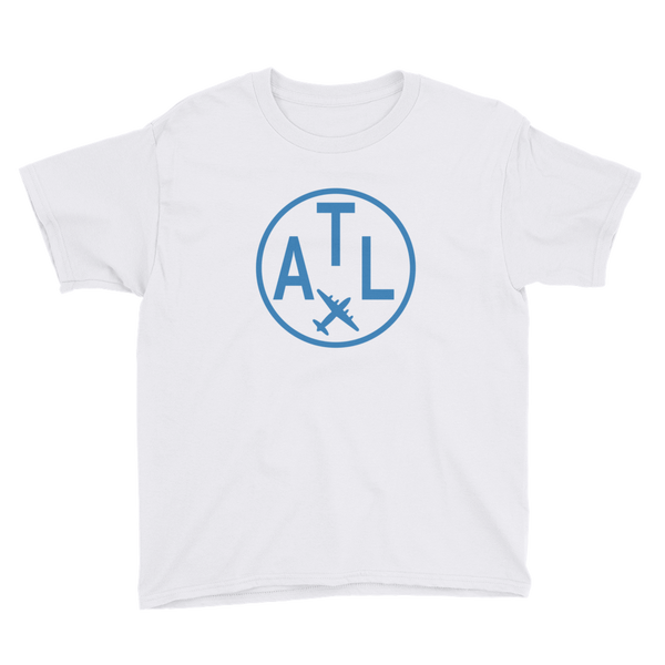 RWY23 - ATL Atlanta T-Shirt - Airport Code and Vintage Roundel Design - Youth - White - Gift for Child or Children