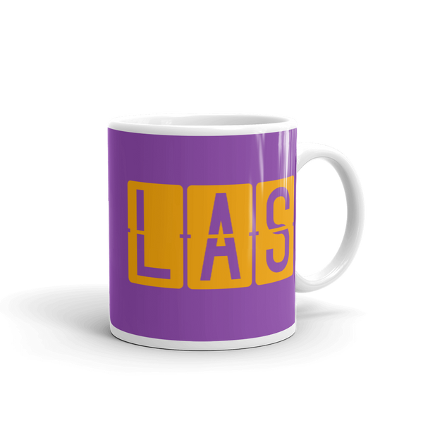 RWY23 - LAS Las Vegas, Nevada Airport Code Coffee Mug - Graduation Gift, Housewarming Gift - Orange and Purple - Right