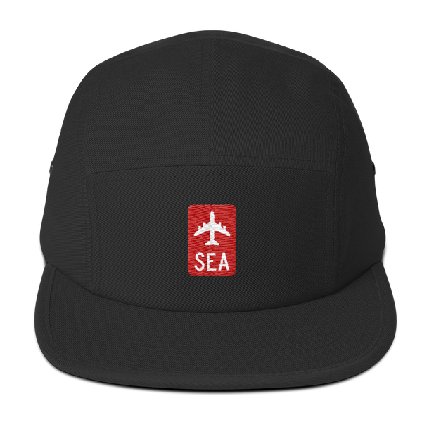 RWY23 - SEA Seattle Retro Jetliner Airport Code Camper Hat - Black - Front - Student Gift