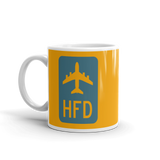 RWY23 - HFD Hartford Airport Code Jetliner Coffee Mug - Birthday Gift, Christmas Gift - Blue and Orange - Left