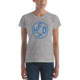 RWY23 - HFD Hartford T-Shirt - Airport Code and Vintage Roundel Design - Women's - Heather Grey - Gift for Her