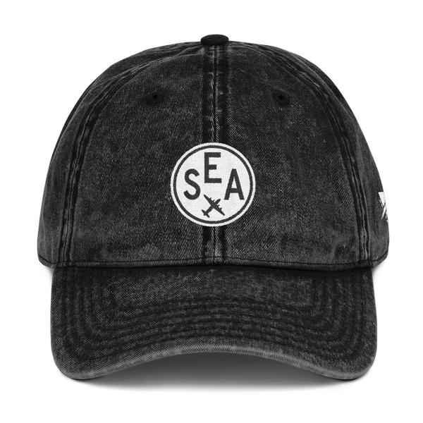 RWY23 - SEA Seattle Cotton Twill Cap - Airport Code and Vintage Roundel Design - Black - Front - Christmas Gift