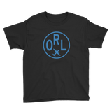 RWY23 - ORL Orlando T-Shirt - Airport Code and Vintage Roundel Design - Youth - Black - Gift for Grandchild