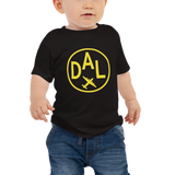 RWY23 - DAL Dallas T-Shirt - Airport Code and Vintage Roundel Design - Baby - Black - Gift for Child or Children