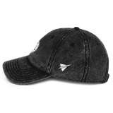 RWY23 - ATL Atlanta Cotton Twill Cap - Airport Code and Vintage Roundel Design - Black - Left Side - Birthday Gift