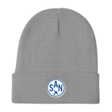 RWY23 - SAN San Diego Winter Hat - Embroidered Airport Code and Vintage Roundel Design - Gray - Birthday Gift