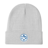 RWY23 - IND Indianapolis Winter Hat - Embroidered Airport Code and Vintage Roundel Design - White - Aviation Gift