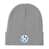 RWY23 - LAX Los Angeles Winter Hat - Embroidered Airport Code and Vintage Roundel Design - Gray - Birthday Gift