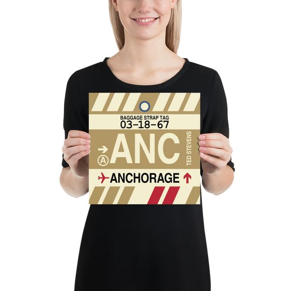 "RWY23 - ANC Anchorage Airport Code Vintage Baggage Tag Design Poster - 10""x10"""