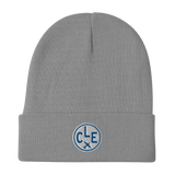 CLE Cleveland Winter Hat • Embroidered Airport Code & Vintage Roundel Design