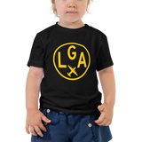 RWY23 - LGA New York T-Shirt - Airport Code and Vintage Roundel Design - Toddler - Black - Gift for Grandchild or Grandchildren