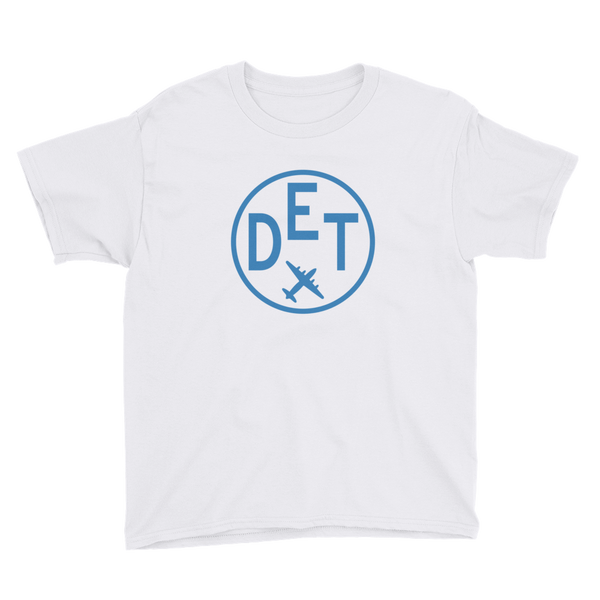 RWY23 - DET Detroit T-Shirt - Airport Code and Vintage Roundel Design - Youth - White - Gift for Child or Children
