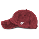 RWY23 - BOS Boston Cotton Twill Cap - Airport Code and Vintage Roundel Design - Maroon - Left Side - Local Gift