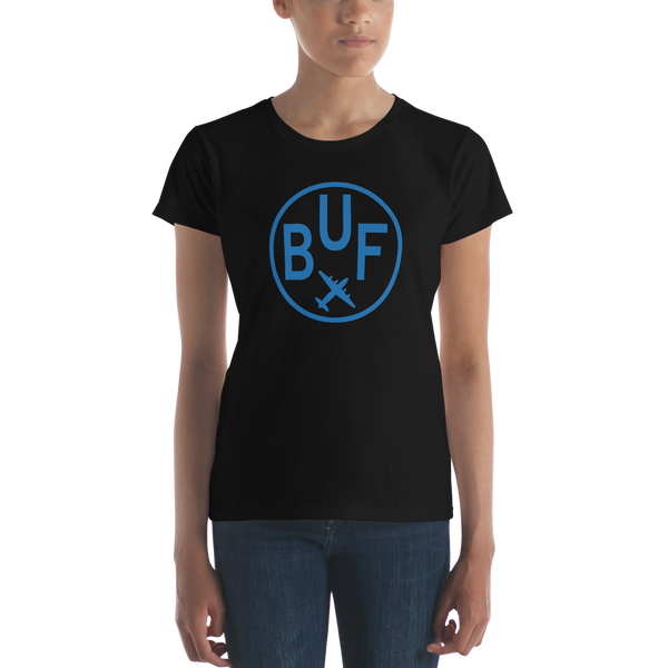 RWY23 - BUF Buffalo T-Shirt - Airport Code and Vintage Roundel Design - Women's - Black - Gift for Girlfriend