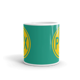 RWY23 - PHX Phoenix, Arizona Airport Code Coffee Mug - Teacher Gift, Airbnb Decor - Yellow and Green-Aqua - Side