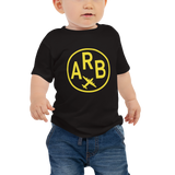 RWY23 - ARB Ann Arbor T-Shirt - Airport Code and Vintage Roundel Design - Baby - Black - Gift for Child or Children