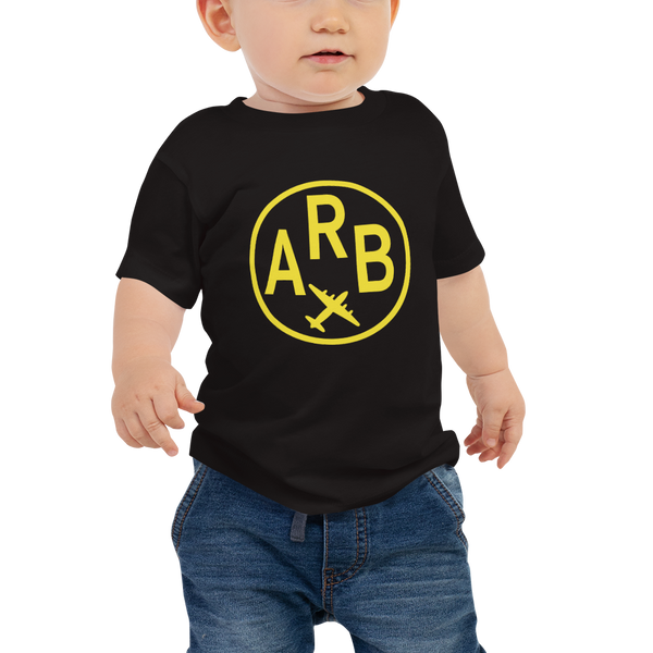 RWY23 - ARB Ann Arbor Vintage Roundel Airport Code T-Shirt - Baby - Black - Gift for Child or Children