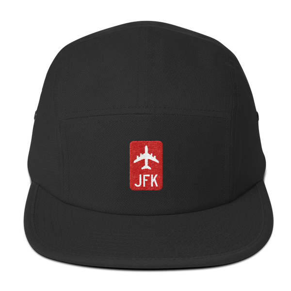RWY23 - JFK New York Retro Jetliner Airport Code Camper Hat - Black - Front - Student Gift