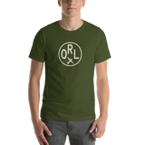 RWY23 - ORL Orlando T-Shirt - Airport Code and Vintage Roundel Design - Adult - Olive Green - Birthday Gift