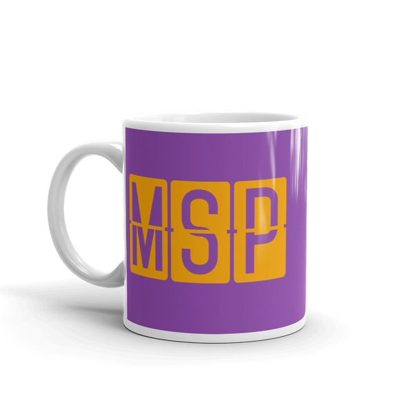 RWY23 - MSP Minneapolis-St. Paul, Minnesota Airport Code Coffee Mug - Birthday Gift, Christmas Gift - Orange and Purple - Left