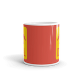 RWY23 - DAL Dallas Airport Code Jetliner Coffee Mug - Teacher Gift, Airbnb Decor - Red and Yellow - Side