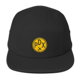 RWY23 - PDX Portland Camper Hat - Airport Code and Vintage Roundel Design -Black - Christmas Gift