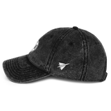 RWY23 - DFW Dallas-Fort Worth Cotton Twill Cap - Airport Code and Vintage Roundel Design - Black - Left Side - Birthday Gift