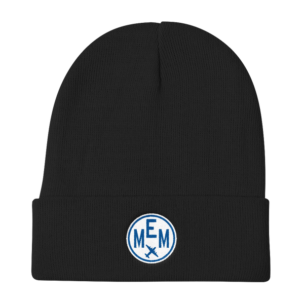 RWY23 - MEM Memphis Winter Hat - Embroidered Airport Code and Vintage Roundel Design - Black - Christmas Gift
