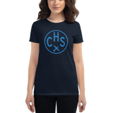 RWY23 - CHS Charleston T-Shirt - Airport Code and Vintage Roundel Design - Women's - Navy Blue - Gift for Wife