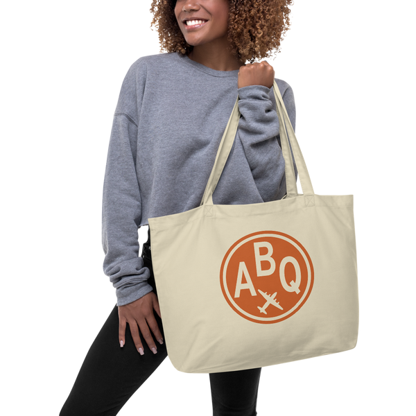RWY23 - ABQ Albuquerque Airport Code Large Organic Cotton Tote Bag - Lady